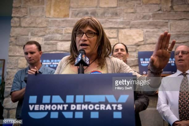 Vermont Democratic gubernatorial nominee Christine Hallquist attends a Vermont Democratic Unity Rally on August 15 2018 in Burlington Vermont...