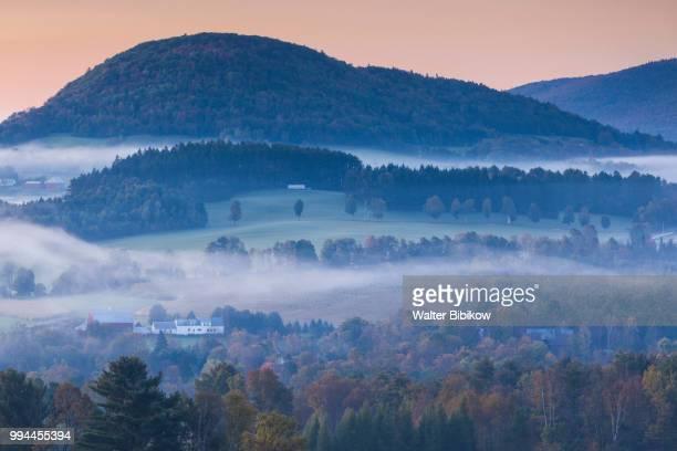Vermont, Peacham, morning fog, autumn