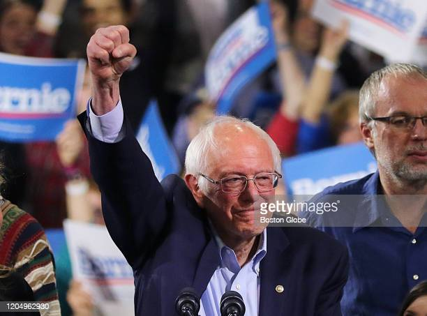 Vermont Senator Bernie Sanders and his wife Jane arrive at a Super Tuesday Rally inside the Champlain Valley Exposition Center in Burlington VT on...