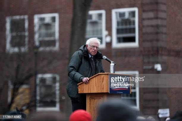 Vermont Senator Bernie Sanders delivers a speech during his first presidential campaign rally at Brooklyn College in New York United States March 2...