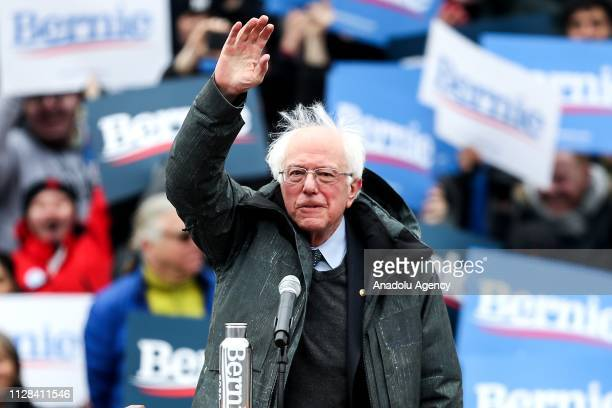 Vermont Senator Bernie Sanders salutes people during his first presidential campaign rally at Brooklyn College in New York United States March 2 2019