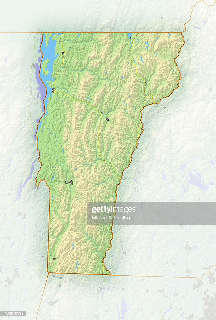 vermont shaded relief map usa stock photo
