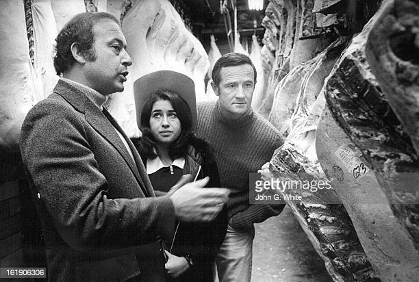 NOV 1 1972 Vern Averch Shows Beef Carcasses To Stacie Cooper And Don Thornton Right They are at the Averch Packing Co 4900 Clarkson St which donated...