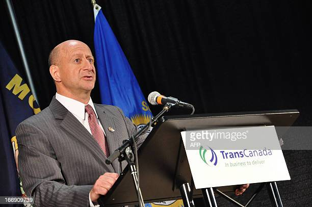 Vern Meier Vice President Pipeline Safety for TransCanada speaks during a press conference on April 18 2013 in Grand Island Nebraska Supporters and...
