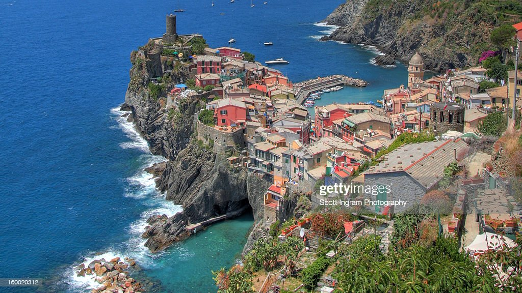 Vernazza From Above Widescreen : Stock Photo