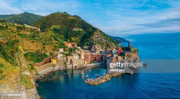 vernazza village cinque terre aerial view - la spezia stock pictures, royalty-free photos & images
