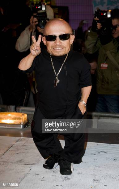 Verne Troyer is evicted from the Big Brother House during the final of Celebrity Big Brother 2009 at Elstree Studios on January 23, 2009 in London,...