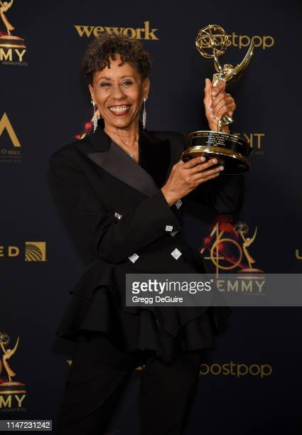 Vernee Watson poses with the Daytime Emmy Award for Outstanding Supporting Actress in a Drama Series in the press room during the 46th annual Daytime...