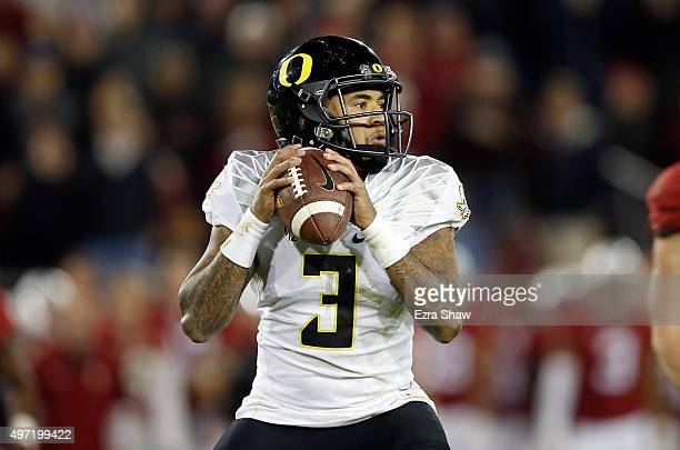 Vernon Adams Jr #3 of the Oregon Ducks drops back to pass against the Stanford Cardinal at Stanford Stadium on November 14 2015 in Palo Alto...