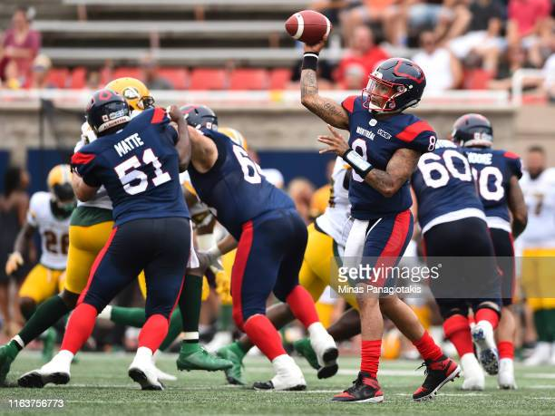 Vernon Adams Jr. #8 of the Montreal Alouettes passes the ball against the Edmonton Eskimos during the CFL game at Percival Molson Stadium on July 20,...