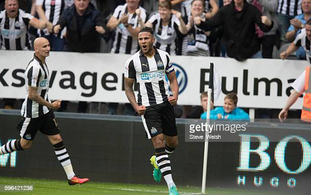 Vernon Anita of Newcastle celebrates his goal during the Sky Bet Championship match between Newcastle United and Brighton Hove Albion on August 27...