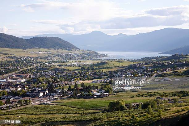 vernon british columbia evening from turtle mountain - british columbia stock pictures, royalty-free photos & images