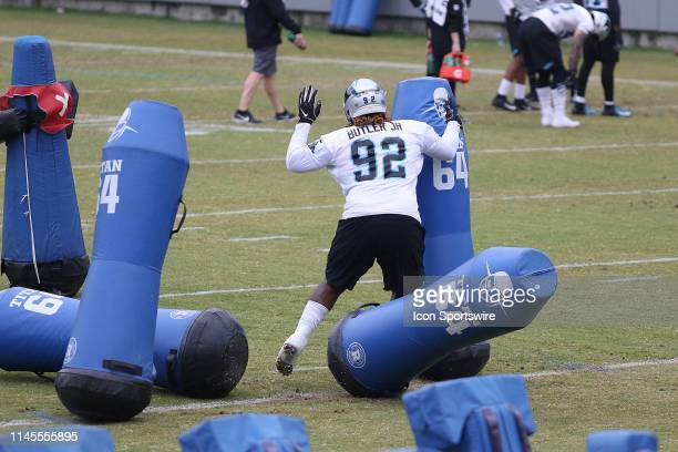Vernon Butler defensive tackle of Carolina during an OTA practice on May 22 at the Carolina Panthers training facility in Charlotte NC