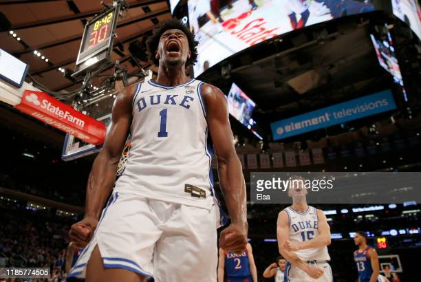 Vernon Carey Jr. #1 of the Duke Blue Devils celebrates after he drew the foul in the second half against the Kansas Jayhawks during the State Farm...