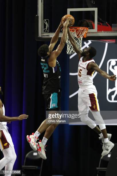 Vernon Carey Jr. #22 of the Greensboro Swarm dunks the ball against the Canton Charge on February 12, 2021 at HP Field House in Orlando, Florida....