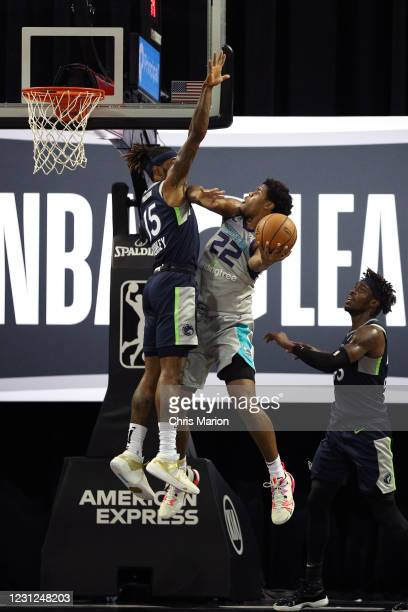 Vernon Carey Jr. #22 of the Greensboro Swarm shoots the ball against the Iowa Wolves on February 18, 2021 at HP Field House in Orlando, Florida. NOTE...