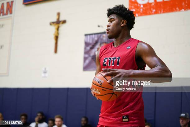 Vernon Carey of Team Each 1 Teach 1 in bounds the ball at the Fab 48 tournament at Bishop Gorman High School on July 26 2018 in Las Vegas Nevada
