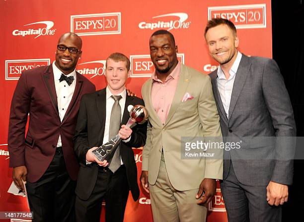Vernon Davis guest Patrick Willis and Joel McHale attend the 2012 ESPY Awards at Nokia Theatre LA Live on July 11 2012 in Los Angeles California