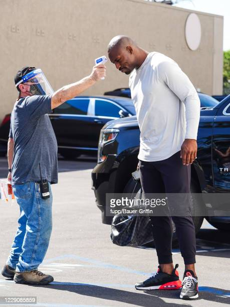 Vernon Davis has his temperature checked outside 'Dancing With The Stars' rehearsal studios on October 14 2020 in Los Angeles California