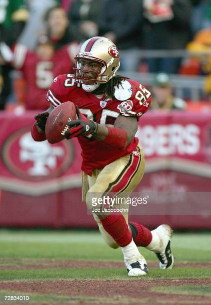 Vernon Davis of the San Francisco 49ers celebrates his touchdown during the game against the Green Bay Packers at Monster Park on December 10, 2006...