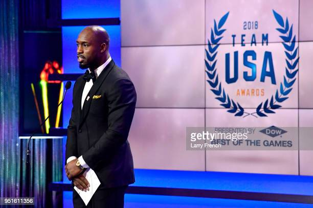 Vernon Davis speaks onstage during the Team USA Awards at the Duke Ellington School of the Arts on April 26 2018 in Washington DC