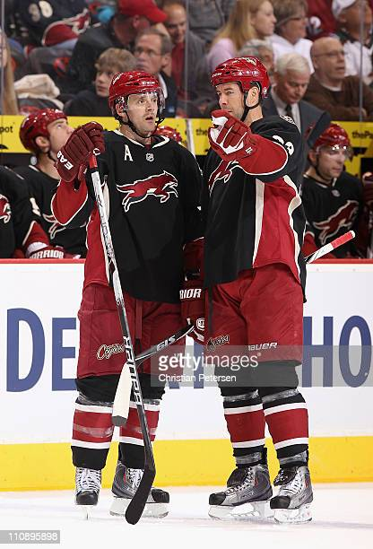 Vernon Fiddler and Adrian Aucoin of the Phoenix Coyotes talk during the NHL game against the St Louis Blues at Jobingcom Arena on March 22 2011 in...