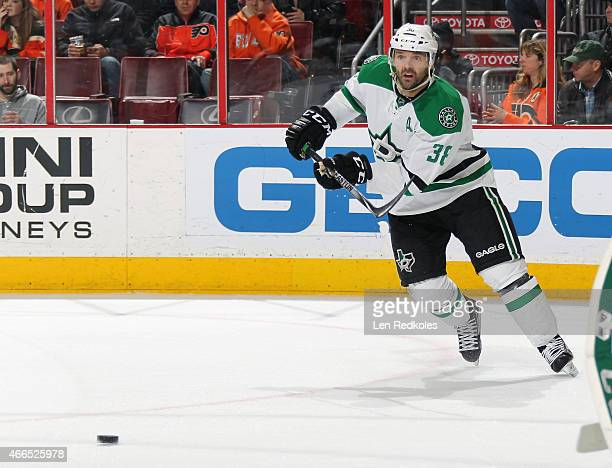 Vernon Fiddler of the Dallas Stars passes the puck against the Philadelphia Flyers on March 10 2015 at the Wells Fargo Center in Philadelphia...