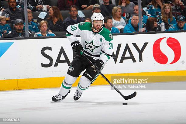 Vernon Fiddler of the Dallas Stars skates with the puck against the San Jose Sharks at SAP Center on March 26 2016 in San Jose California