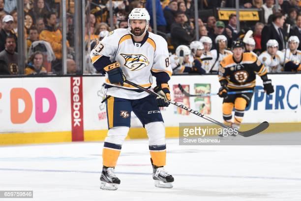 Vernon Fiddler of the Nashville Predators skates against the Boston Bruins at the TD Garden on March 28 2017 in Boston Massachusetts