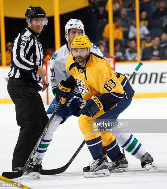 Vernon Fiddler of the Nashville Predators skates against the Vancouver Canucks during an NHL game at Bridgestone Arena on February 7 2017 in...