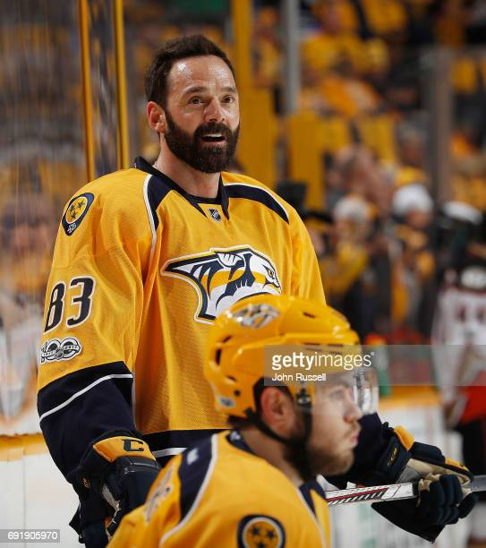 Vernon Fiddler of the Nashville Predators warms up against the Anaheim Ducks in Game Six of the Western Conference Final during the 2017 NHL Stanley...
