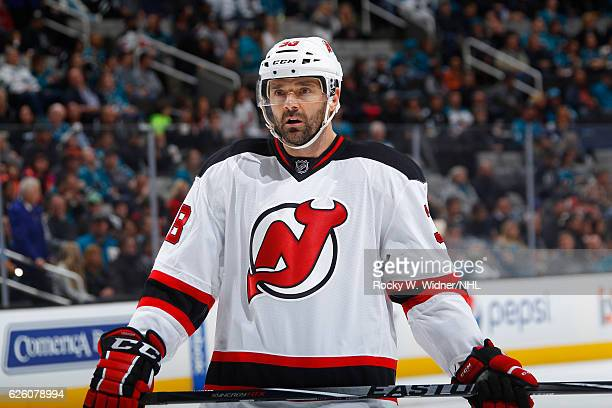 Vernon Fiddler of the New Jersey Devils looks on during the game against the San Jose Sharks at SAP Center on November 21 2016 in San Jose California