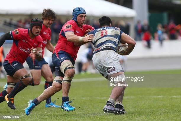 Vernon Fredericks of Tasman tackles Akira Ioane during the round eight Mitre 10 Cup match between Tasman and Auckland at Trafalgar Park on October 8...