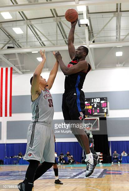 Vernon Goodridge of the Springfield Armor shoots the ball over Brandon Costner of the Utah Flash during the 2011 NBA D-League Showcase on January 11,...