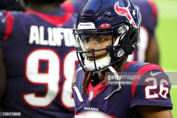 Vernon Hargreaves III of the Houston Texans in action against the Tennessee Titans during a game at NRG Stadium on January 03, 2021 in Houston, Texas.