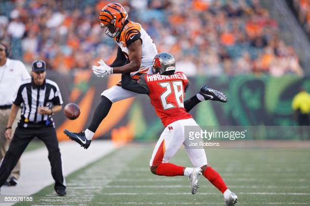 Vernon Hargreaves III of the Tampa Bay Buccaneers defends a pass intended for Cody Core of the Cincinnati Bengals in the first quarter of a preseason...
