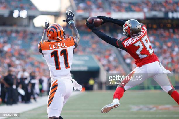 Vernon Hargreaves III of the Tampa Bay Buccaneers intercepts a pass at the goal line intended for Brandon LaFell of the Cincinnati Bengals in the...