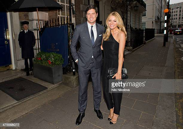 Vernon Kay and Tess Daly are seen arriving at Annabel's club Mayfair on June 01 2015 in London England