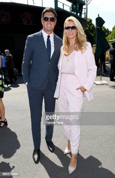 Vernon Kay and Tess Daly attend day two of the Wimbledon Tennis Championships at the All England Lawn Tennis and Croquet Club on July 3 2018 in...