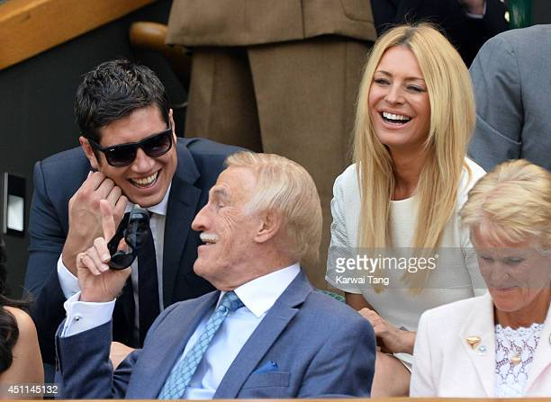 Vernon Kay Tess Daly and Bruce Forsyth attend the Julia Glushko v Sabine Lisicki match on centre court during day two of the Wimbledon Championships...