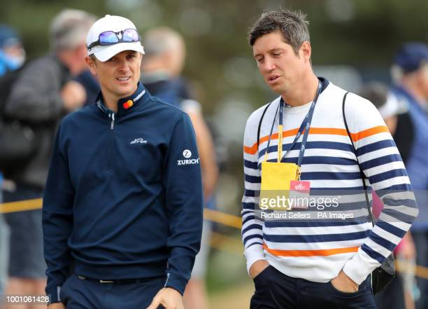 Vernon Kay walks round with England's Justin Rose during preview day four of The Open Championship 2018 at Carnoustie Golf Links Angus