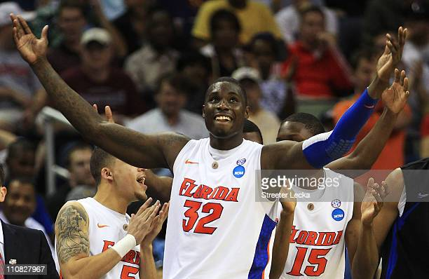 Vernon Macklin of the Florida Gators celebrates durig their 83 to 74 win over the Brigham Young Cougars during the Southeast regional of the 2011...