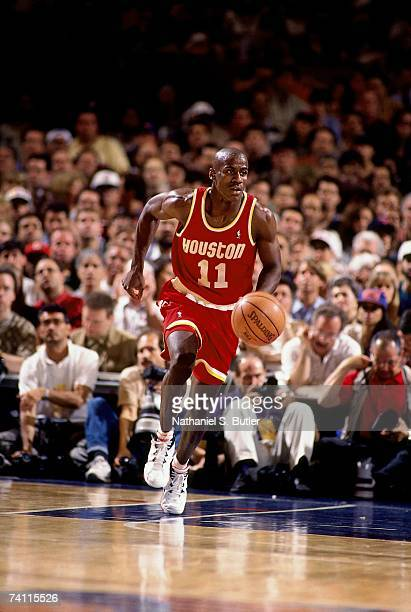 Vernon Maxwell of the Houston Rockets dribbles up court during Game Five of the NBA Finals played on June 17 1994 at Madison Square Garden in New...