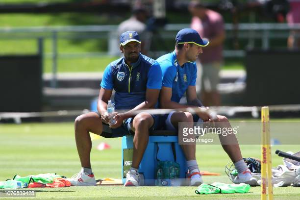 Vernon Philander and Duanne Olivier during the South African national cricket team training session at PPC Newlands on January 02 2019 in Cape Town...