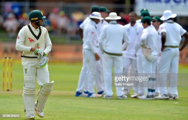 Vernon Philander and team mates of South Africa celebrate the wicket of Usman Khawaja during day 1 of the 2nd Sunfoil Test match between South Africa...