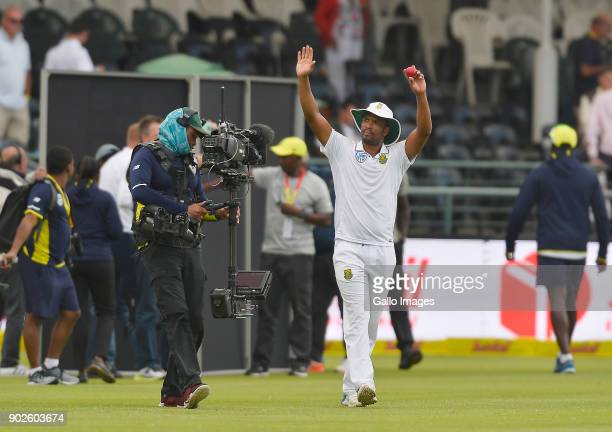Vernon Philander celebrates after winning the 1st Sunfoil Test match between South Africa and India at PPC Newlands on January 08 2018 in Cape Town...