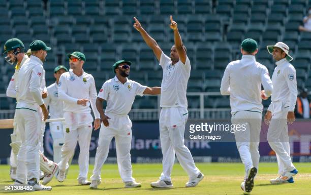 Vernon Philander Celebrates with teammates after taking yet another wicket during day 5 of the 4th Sunfoil Test match between South Africa and...