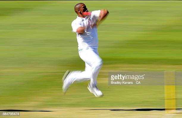 Vernon Philander of South Africa A bowls during the Winter Series between Australia A and South Africa A at Allan Border Field on July 30, 2016 in...