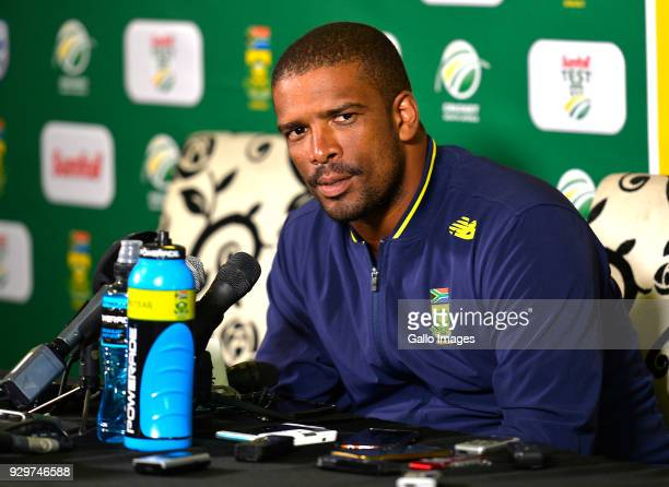 Vernon Philander of South Africa after day 1 of the 2nd Sunfoil Test match between South Africa and Australia at St Georges Park on March 09 2018 in...