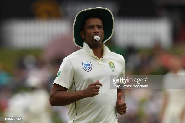 Vernon Philander of South Africa blows a bubble in the field during Day Three of the First Test match between South Africa and England at SuperSport...